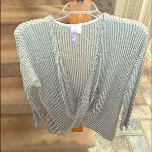 Long sleeve low scoop blouse